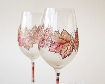Hand Painted Wine Glasses, Grape leaves, Autumn Leaves, Fall Pastels, Wedding Wine Glasses, set of 2, Burgundy, Old Pink, Red