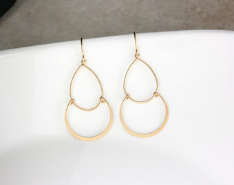 Gold Layer Circle Drop Earrings , Double Layer Circle Earrings , Simple Drop Earrings , Gold Earrings , Gold Jewelry , Dainty Earrings