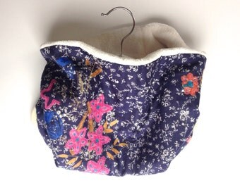 Neck Warmer, Tube Scarf:  Navy Floral