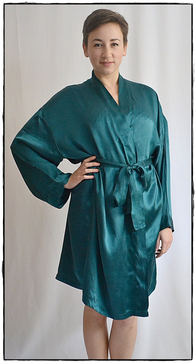 Vintage Short Teal Green Silk Satin Robe Kimono M/L
