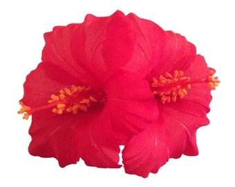Double Hawaiian Hibiscus Realistic Flower Hair Clip