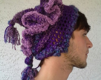 Purple Whimsy: Warm Crochet Abstract Hat