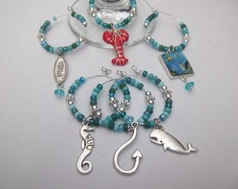 Ocean Life Beaded Glass Wine Charms Set of 6 / Animal Wine Charms