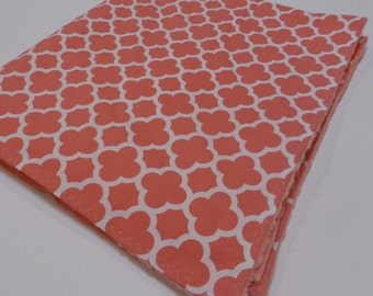 Minky Blanket Cotton and Coral Minky Coral Quatrefoil