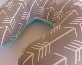 Nursing Pillow Cover - Arrows in white on Gray Boppy Cover  with Your Choice of Minky Color