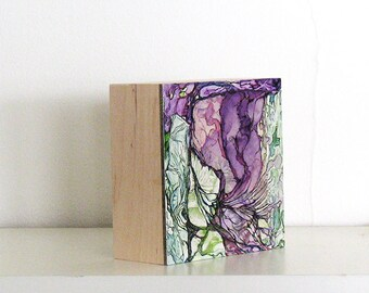 Original abstract painting, small green and purple art, watercolor and ink painting, Colonization: Green Wallpaper 2 (Fern River Confluence)