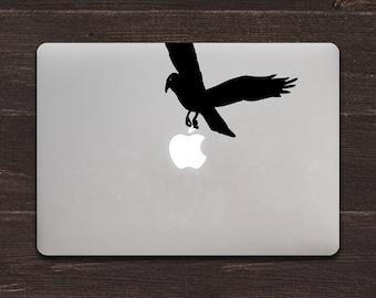 Crow Apple Vinyl MacBook Decal BAS-0232