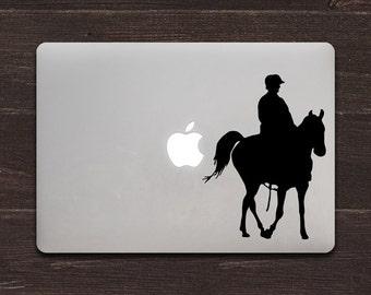 Riding Horse Silhouette Vinyl MacBook Decal BAS-0307