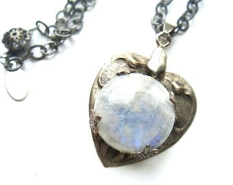 One of a Kind Victorian Style Moonstone Necklace Heart Necklace