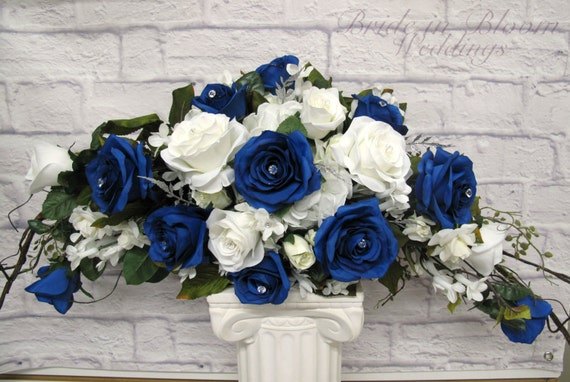 Wedding decoration Royal blue white rose arch swag Silk bridal bouquet ...