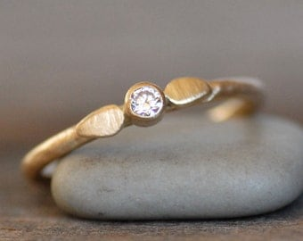 Diamond and Gold Wedding Ring - 2.5mm Diamond Petal Engagement Band - Choose 14k or 18k - Eco-Friendly Recycled Gold
