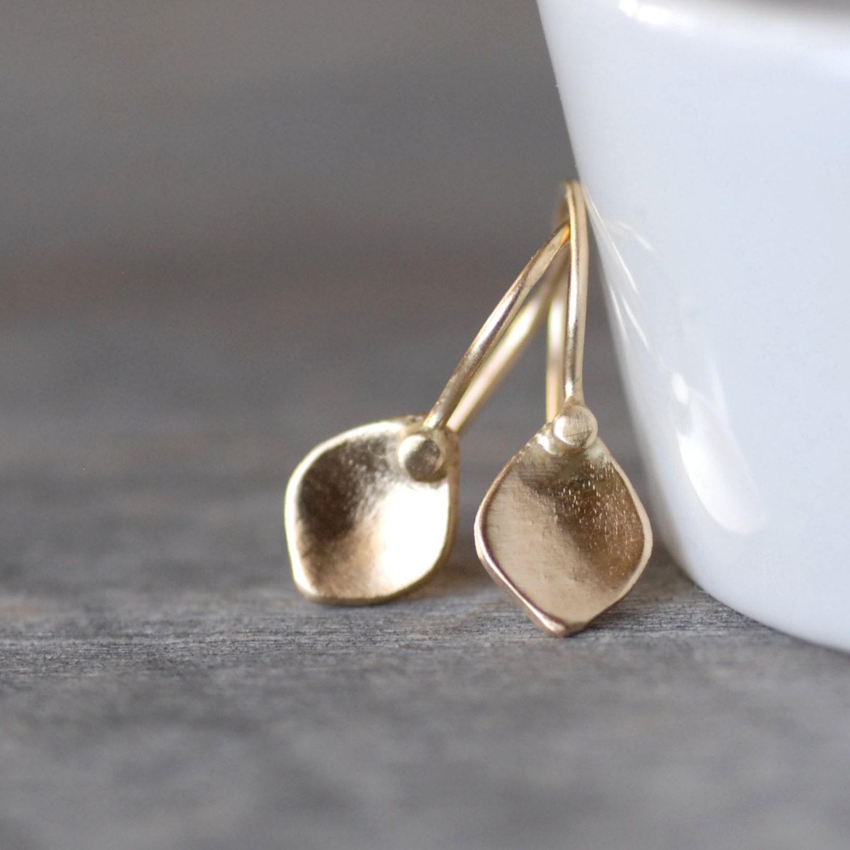 Tiny Gold Petal Earrings Small Gold Dangle Earrings