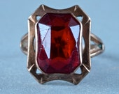 Art Deco Ring Ruby Red Emerald Cut Glass Stone Art Deco Tombak Size Large