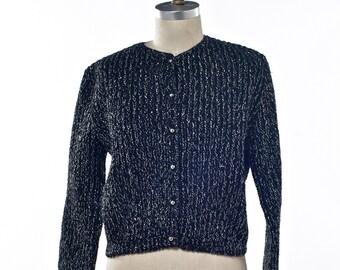 Vintage 60's/70's Cardigan Black and Silver Knit Wondamere Size Medium