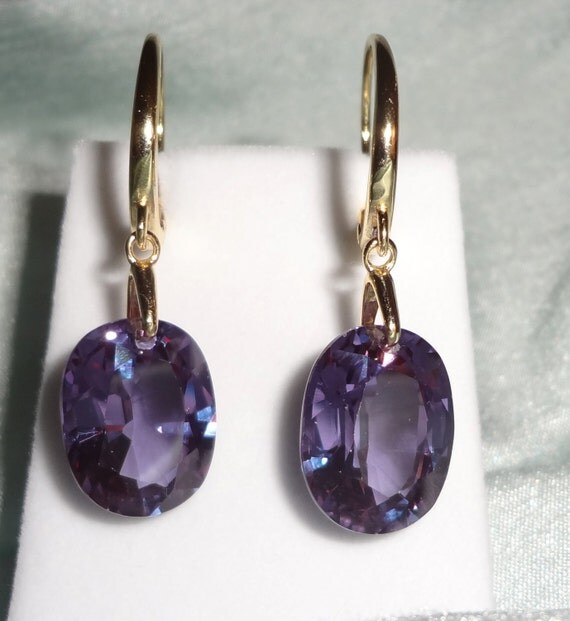 NATURAL 38cts Oval Purple Sapphires gemstones,14kt lever back Pierced Earrings