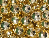 20mm Gold UV Plated Disco Ball Beads for Chunky Necklace 10 ct Bubble Gum Necklace Beads Faceted