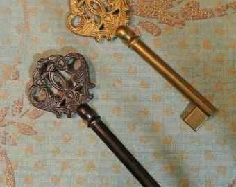Vintage Solid Brass Italian Louis Skeleton Key