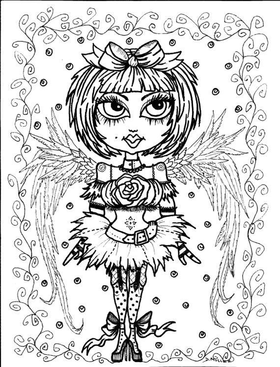 5 pages Instant Download 5 Coloring pages Gothic Angels