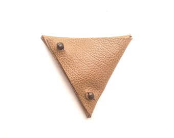 Leather coin purse, leather coin pouch, leather small wallet, leather gift, mens wallet, men leather wallet, leather triangle coin pouch