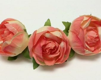 Silk Flowers - THREE Large CORAL CREAM Rose Buds - 3 Inches - Artificial Flowers