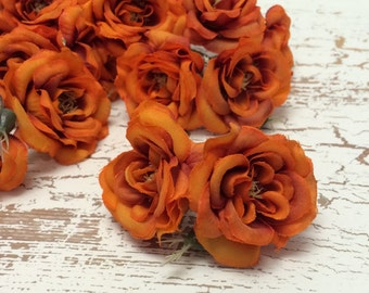 Silk Flowers - One Lot of 14 RUST GOLD  Miniature Roses -  Artificial Flowers, Artificial Roses, Flower Crowns