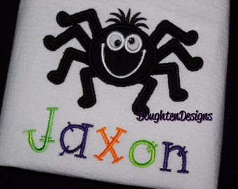 Boy Spider shirt - HALLOWEEN baby or toddler boy spider shirt with spider Applique.  Can be Monogrammed or  Personalized with any name