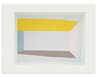 Large abstract geometric original art. Handmade silkscreen print in lovely block colours.