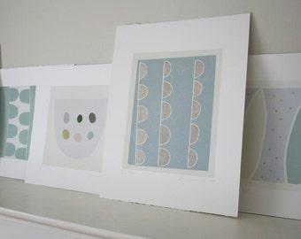 Abstract screenprint, handmade, duck egg blue, original silkscreen print, original gift by Emma Lawrenson. 'Stems' Scandi home