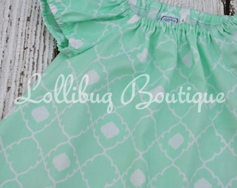 Short Sleeve Mint Quatrefoil Peasant Dress, Toddler Girls, 12 Month to 7