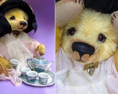 "Denise Purrington Out of the Forest Bears 16"" OOAK Mohair Teddy Bear ""Tea Party Tilly"" - Soft Sculpture Art Vintage Character Girl Animal"