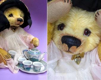 "Denise Purrington Out of the Forest Bears 16"" OOAK Mohair Teddy Bear ""Tea Party Tilly"" - Soft Sculpture Art Vintage Character Girl Animal"