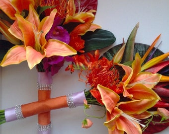 Tropical Bridal Bouquet and Bridesmaid Bouquet Set