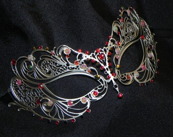 Red, Black and Peach Metallic Masquerade Mask - Red, Black and Peach Mask