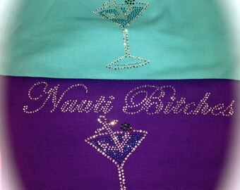 Bachelorette Party Tanks , Nauti bride Anchor Martini Shirt , Flowy racerback Bridesmaid Tops , Wedding Party Shirts  - ALL COLORS and SIZES
