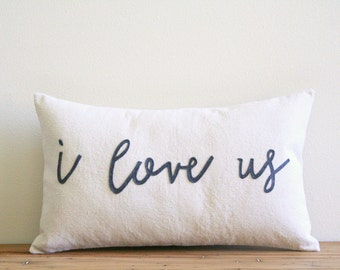 "I love us decorative pillow cover, 12"" x 20"", typography, for couples, natural urban farmhouse industrial, rustic, wedding gift, newlywed"