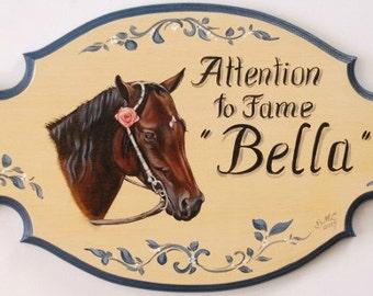 Custom horse portrait painting - Lg horse plaques, stable plaque