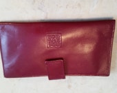 Vintage Dead Stock Anne Klein by St. Thomas Red Reddish Leather Checkbook Case Wallet Accessory Check Book