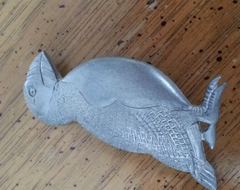 Vintage Pewter Puffin 1980s Brooch Pin