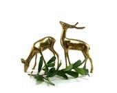 Vintage brass deer, woodland wildlife decor, doe and buck