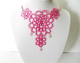 lace necklace, tatting necklace, fuchsia necklace, fuchsia jewelry, lace jewelry, frivolite necklace, carmentatting, victorian necklace