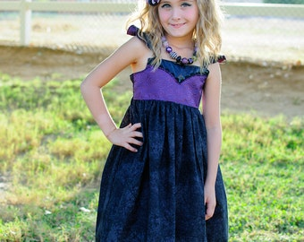 Girls Maleficent Twirl Dress, inspired by Disney's Sleeping Beauty With or Without Cutie Applique available in sizes 2T-12girls