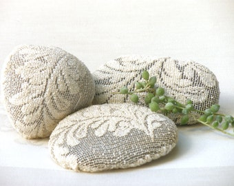 Crochet  Lace Stone, Door stop, Centerpiece table decor, Rustic art. Shabby chic decor, Paperweights, Lace Arts, Upcycled Eco Art.