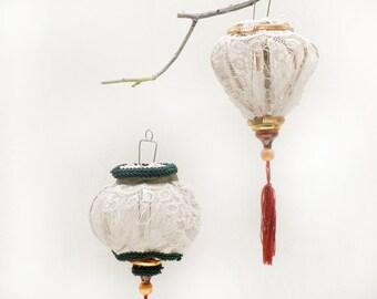 Set  LACE  Wedding ornaments, Vitnamic shape lace decor,  Personalized Ornaments,  Lace decor, Wedding decor, Wedding lace favors.