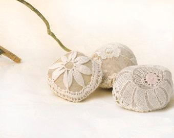 Natural Wedding Favors Inspiratonal Wedding Decor, Lace Crochet  Stones, Romantic Decor, Shabby Chic Wedding, Home Decor Gift Set,