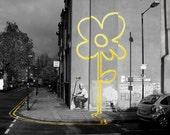 Banksy Poster Print  - Sunflower Black and White - Multiple Paper Sizes