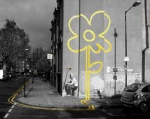 Banksy Canvas (READY TO HANG) - Sunflower Black and White- Multiple Canvas Sizes