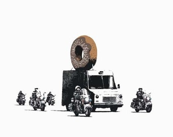 Banksy Canvas (READY TO HANG) - Donut Chocolate - Multiple Canvas Sizes