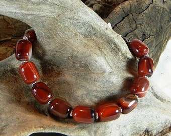 """Chunky orange red brown carnelian bracelet 10"""" long cylinder beads semiprecious stone jewelry  packaged in a gift bag 11069"""