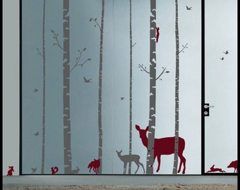 Birch Tree Forest  with birds, elk, deers, rabbits, squirrels and foxes. Children décor, walldecal, wall art.