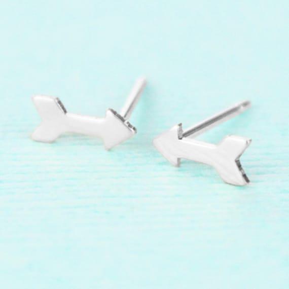 Arrow Earrings - Sterling Silver - Stud Earrings - Arrow Jewelry